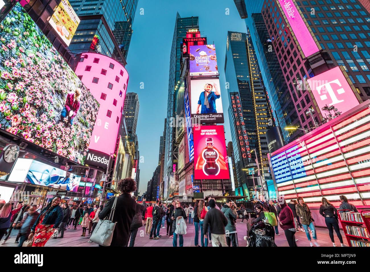 New York City in den USA am Times Square. Stockbild