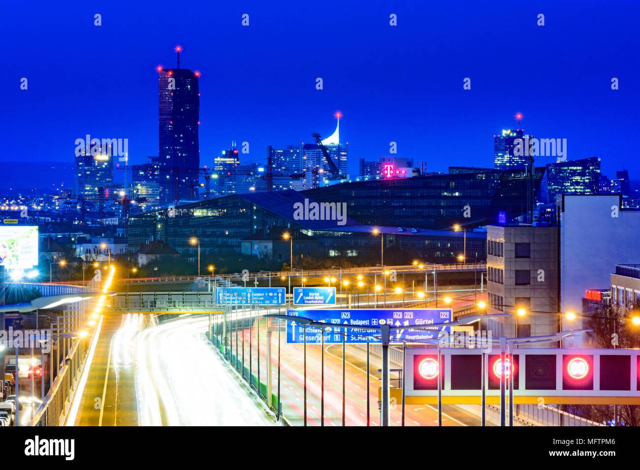 Wien Wien Autobahn A23 Südosttangente Blick Auf Die T Mobile