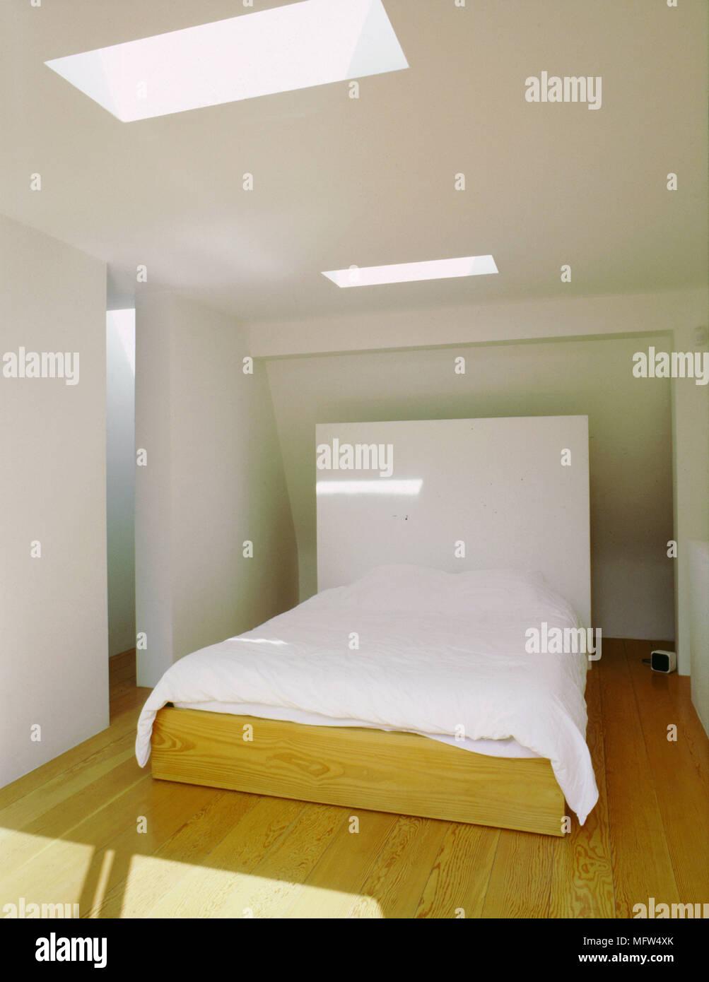 Modernen Minimalistischen Schlafzimmer Mit Holzboden