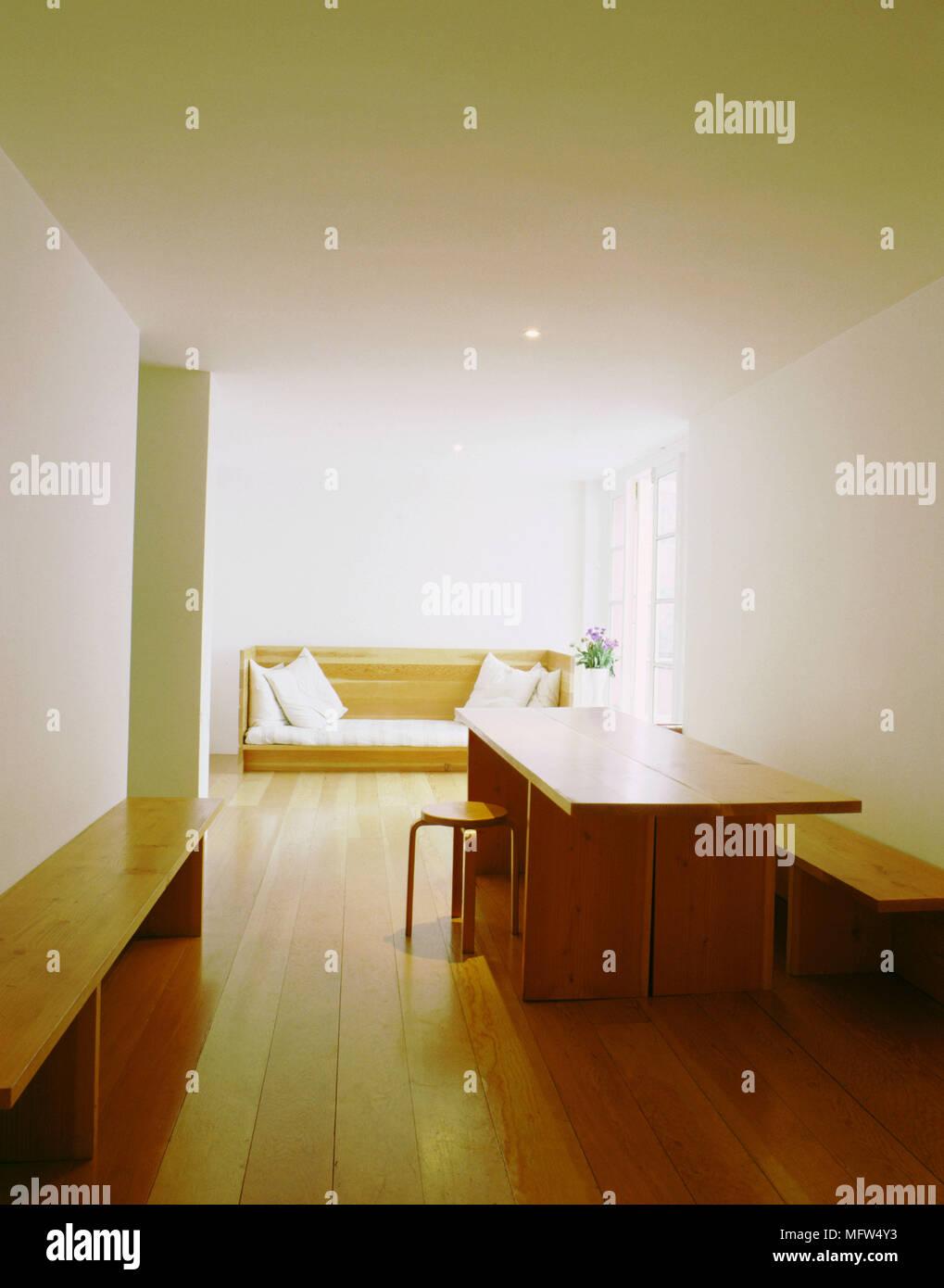 Modernes Minimalistisches Offene Esszimmer Holz Tisch Sitzbank