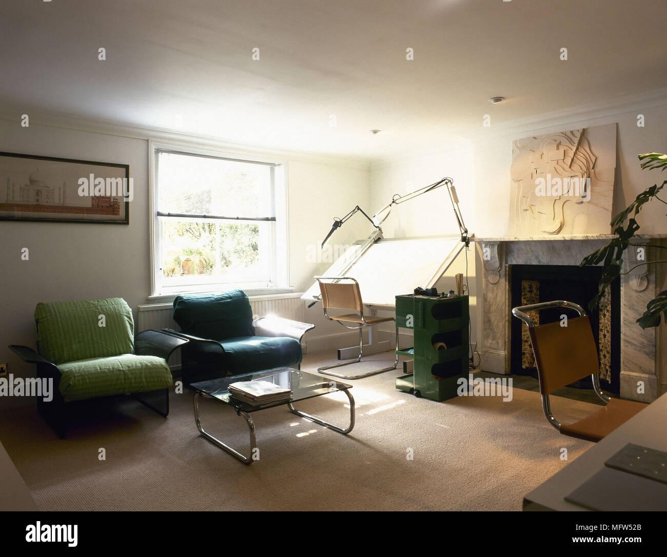 Moderne Wohnzimmer Arbeitszimmer Kamin Sessel Reißbrett