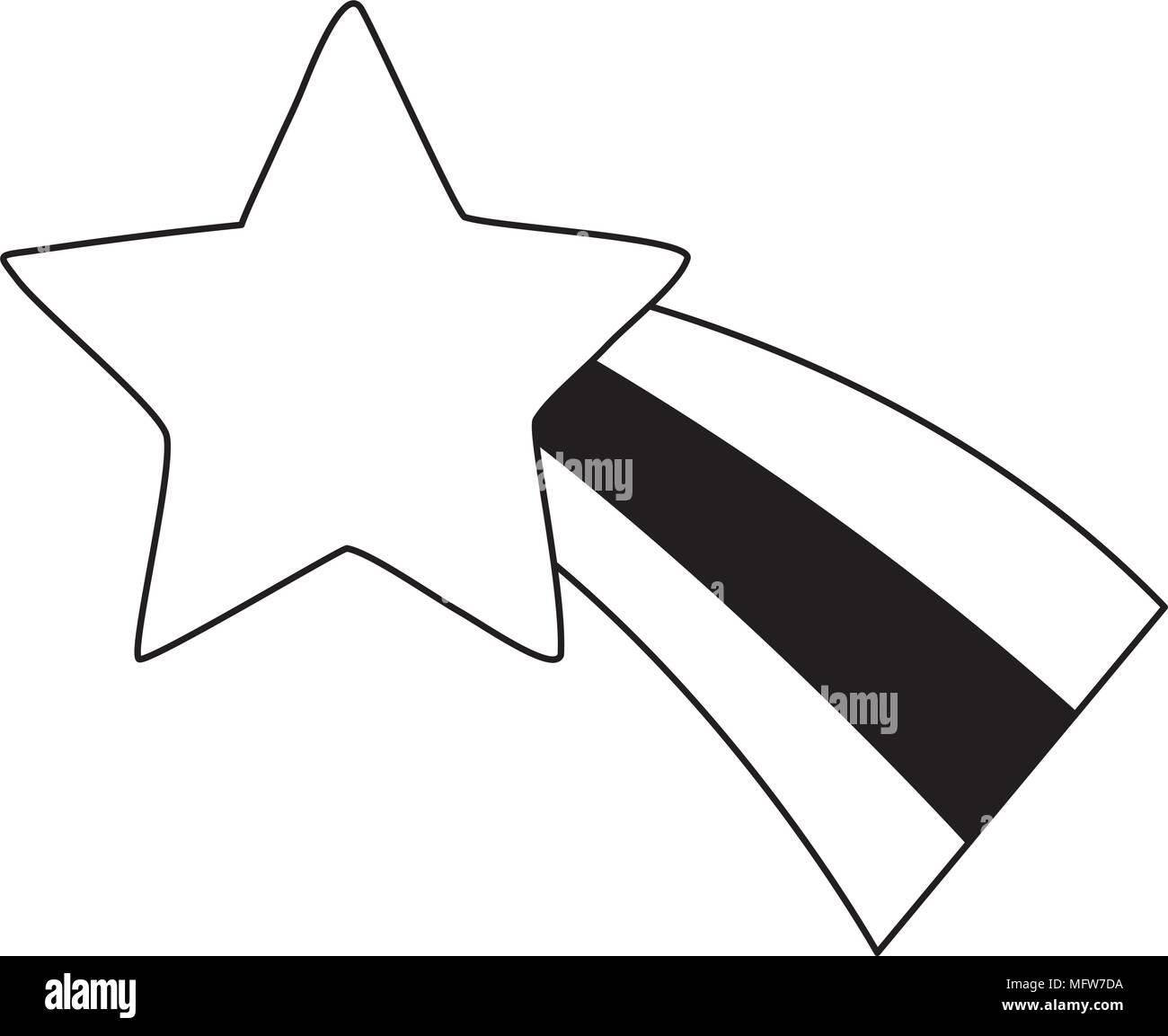 Cute Shooting Star Symbol Auf Weiem Hintergrund Vektor