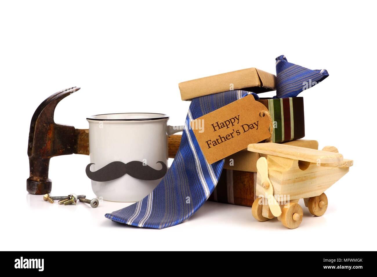 Gruppe von Vatertag Geschenke mit Grußkarte auf weißem Hintergrund Stockbild