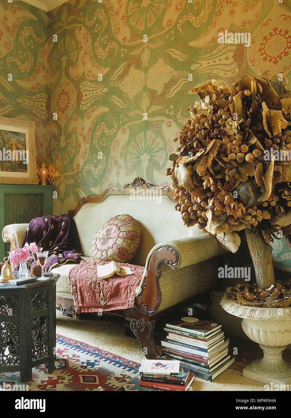 Romantisch, Wohnzimmer, Detail, grün Muster Tapete ...