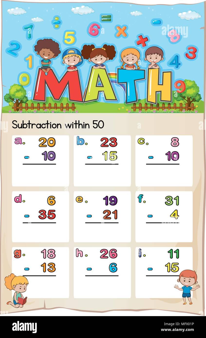 Nett Kindergarten Mathe Arbeitsblatt Addition Und Subtraktion ...