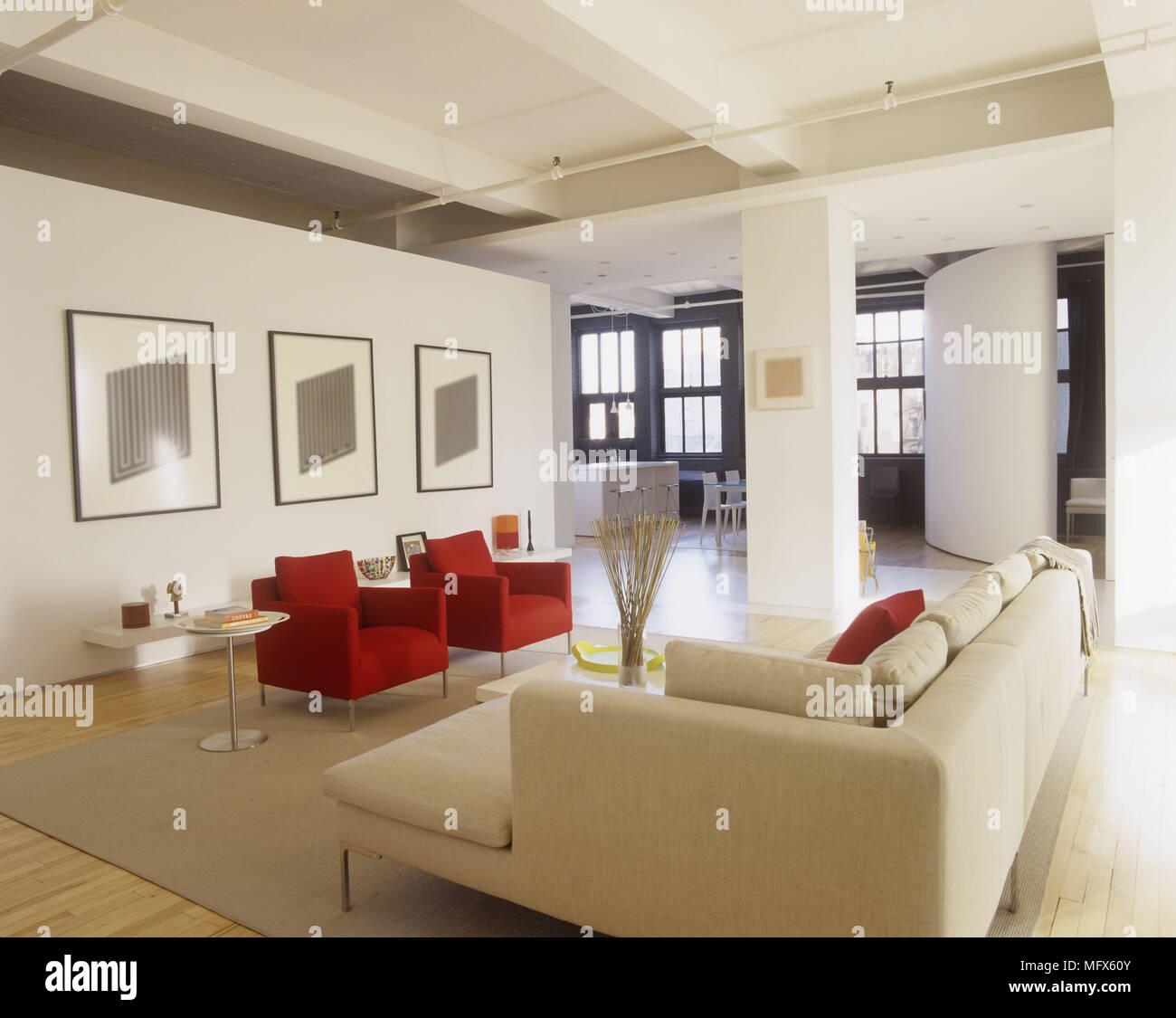 Ein Modernes Minimalistisches Offene Wohnzimmer Mit Roten Sesseln