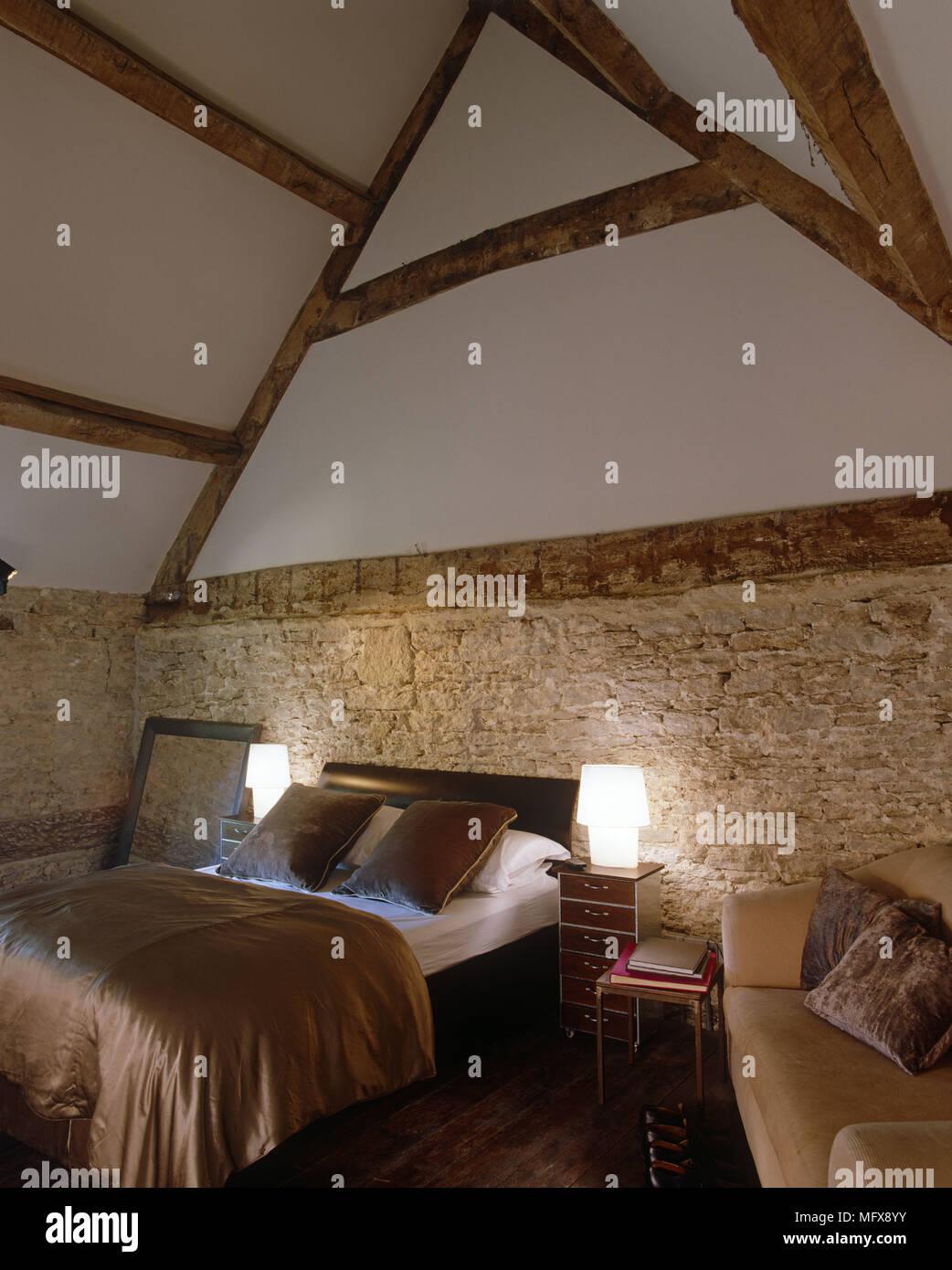 Leuchten Lampen Auf Beiden Seiten Der Nachttische Doppelbett Im