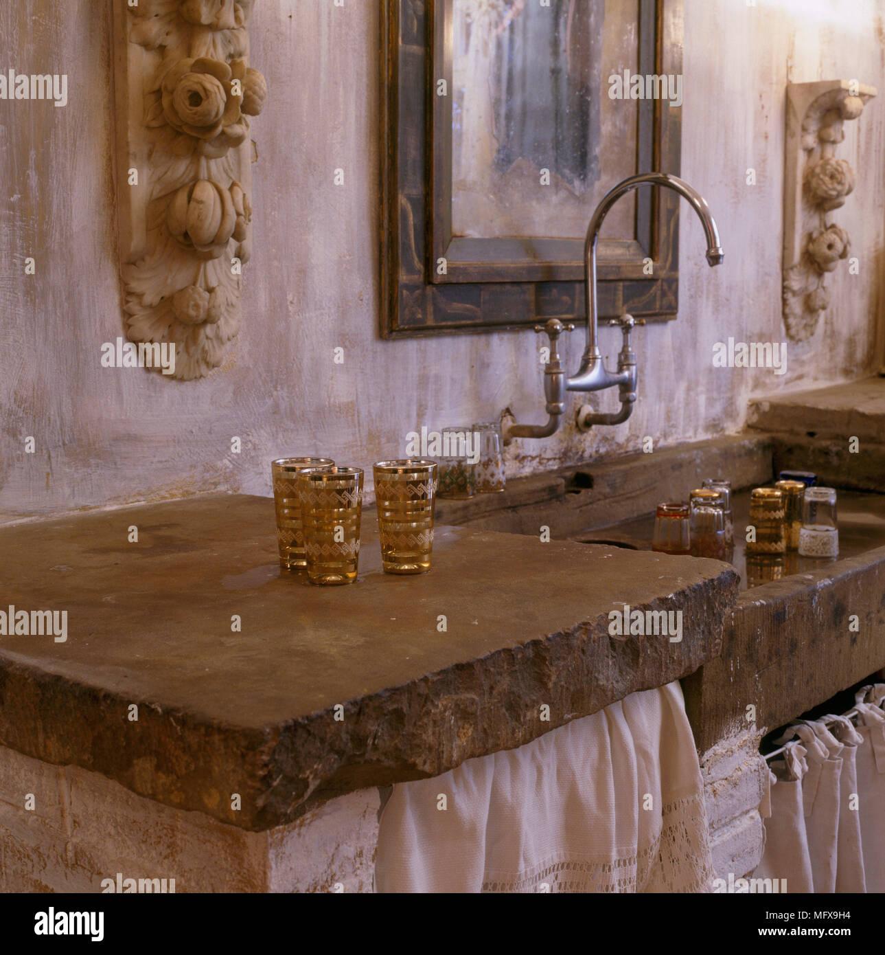 Ein Detail Einer Rustikalen Land Küche Zeigt Eine Solide