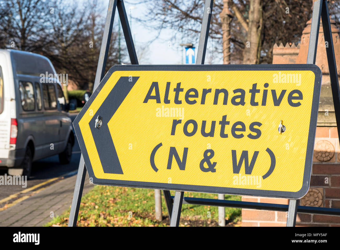 Befristete alternative Routen Straßenschild Verkehr umleiten, Nottingham, England, Großbritannien Stockbild