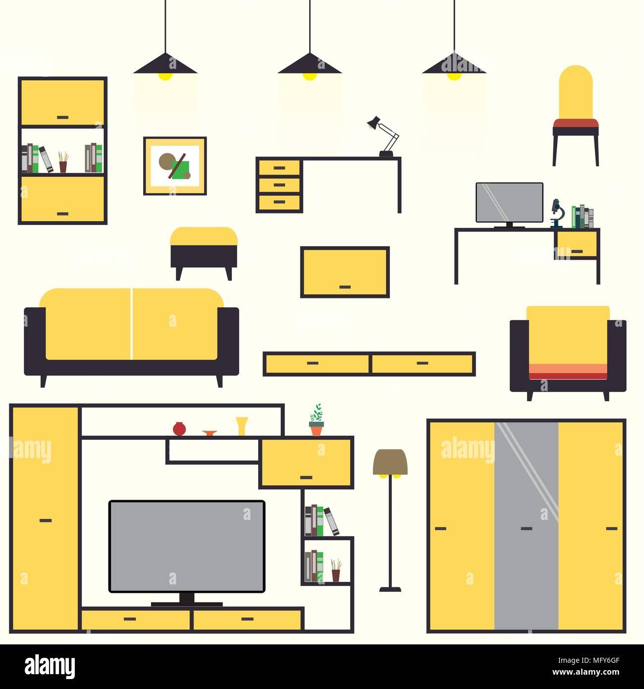 Cartoon einrichten m bel wohnzimmer interior design sofa for Design mobel tisch