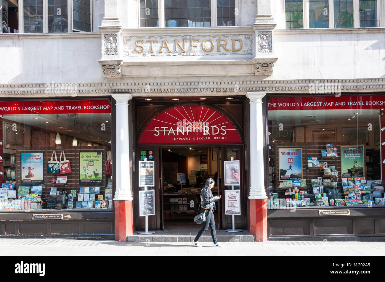 Stanfords Reise Buchhandlung, Long Acre, Covent Garden, Westminster, London, England, Vereinigtes Königreich Stockbild