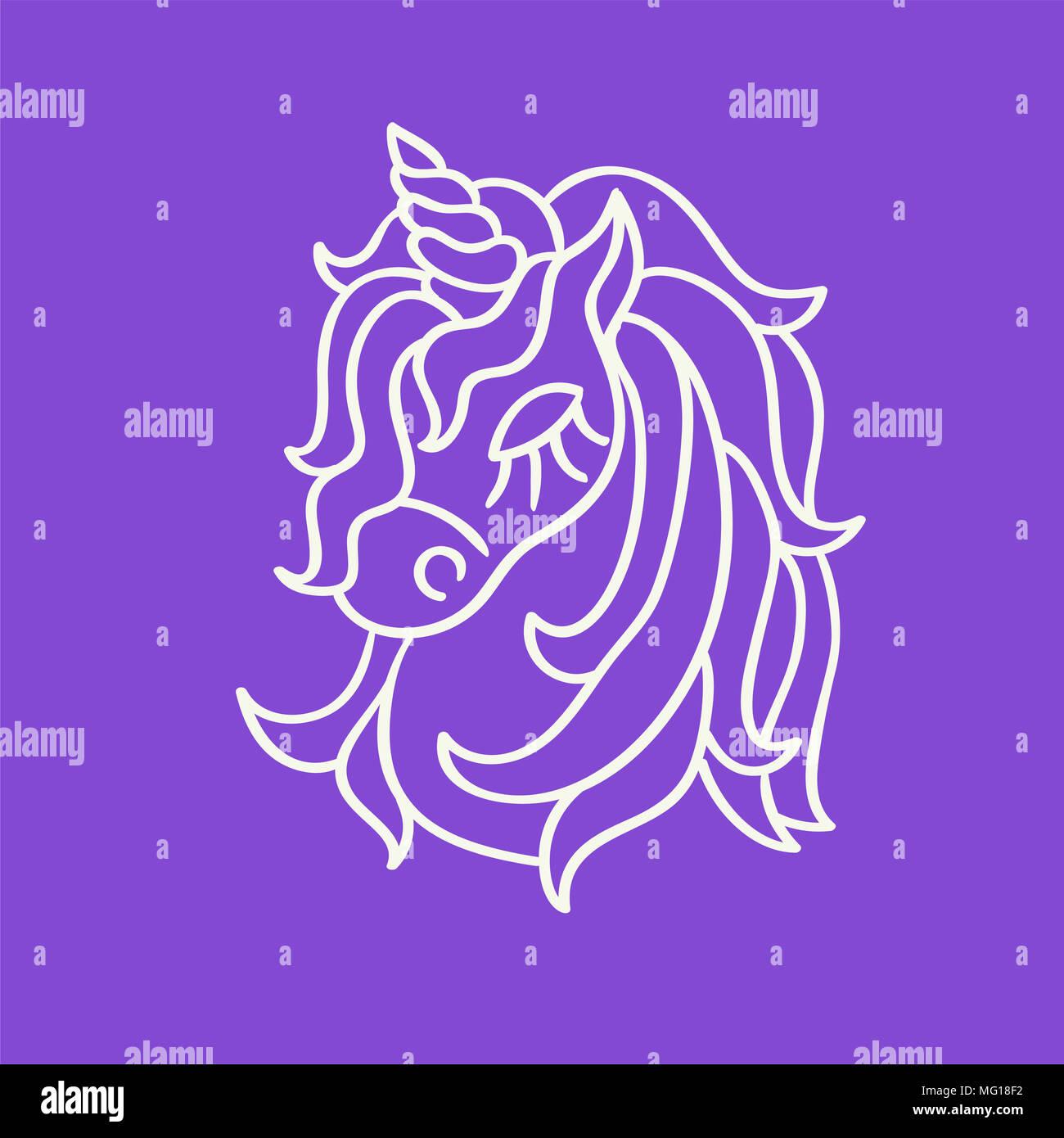 Süße Einhorn Kopf weißer Umriss Skizze Symbol auf dem violetten ...