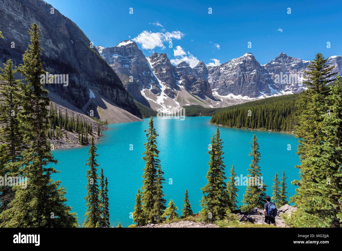 Moraine Lake in den kanadischen Rocky Mountains, Banff National Park, Kanada. Stockbild