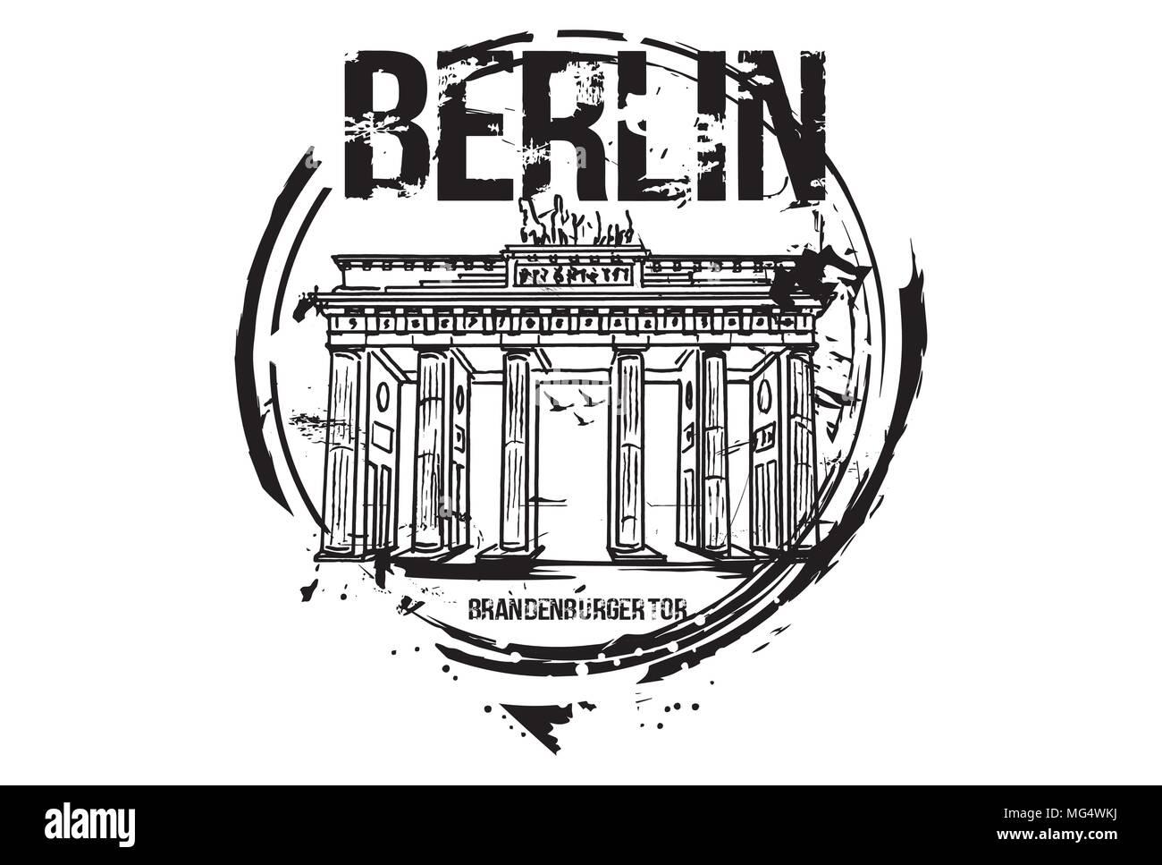Brandenburger Tor Berlin Deutschland City Design Hand Gezeichnet Abbildung Stock Vektorgrafik Alamy