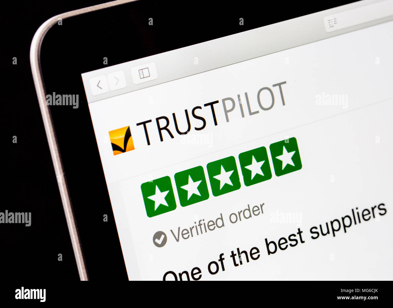 Vertrauen Pilot online Überprüfung Website Stockbild