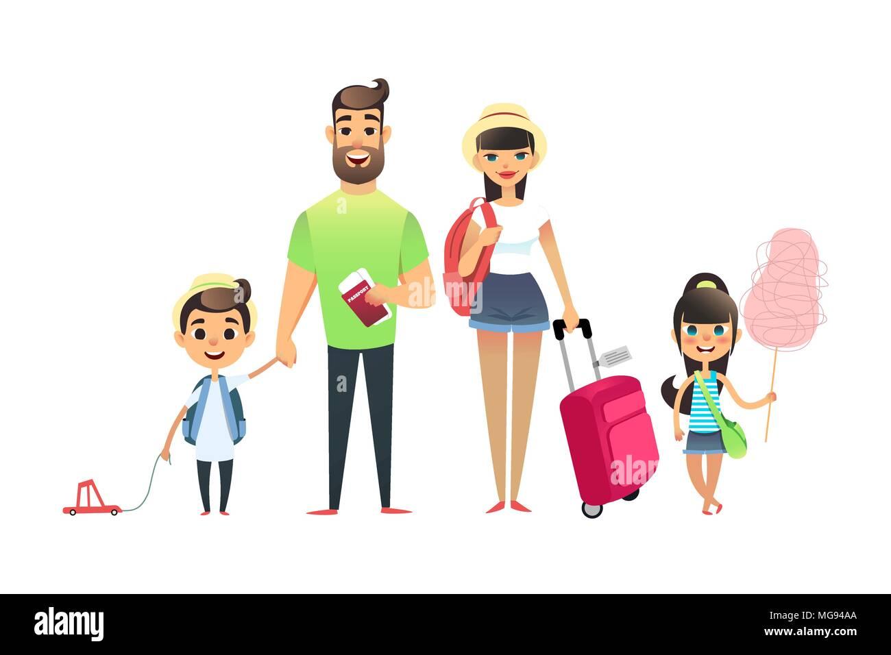 reisen familie leute warten flugzeug oder zug cartoon vater mutter und kind die zusammen. Black Bedroom Furniture Sets. Home Design Ideas