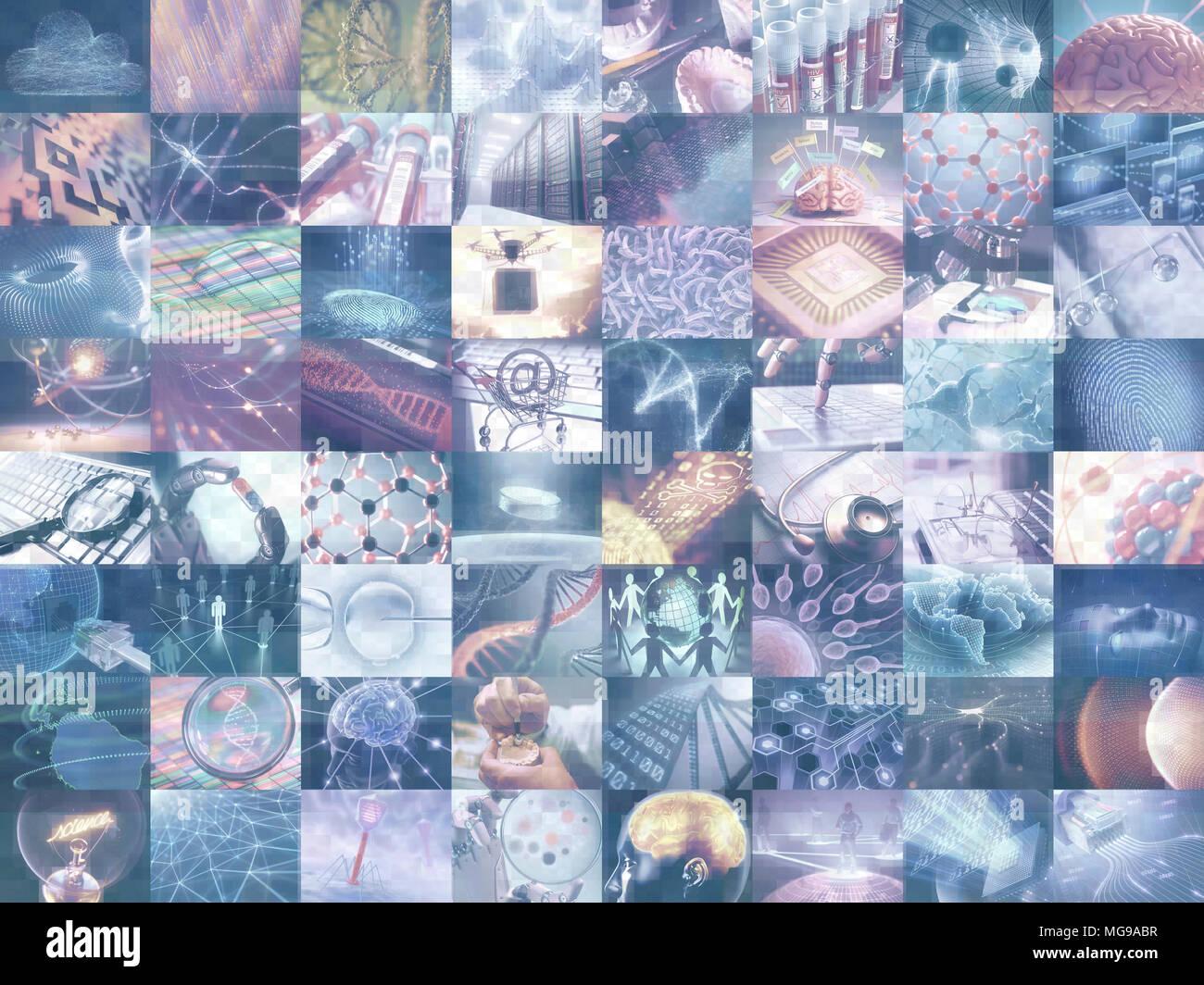 Montage von Wissenschaft und Technik Bilder, Illustration. Stockbild