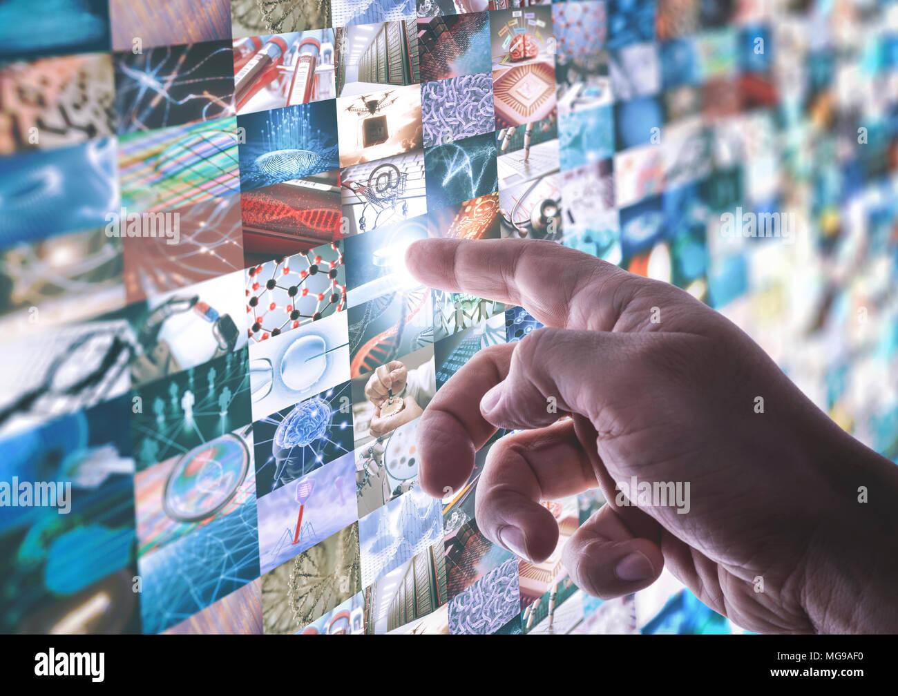 Montage von Wissenschaft und Technologie Bilder mit Finger drücken der Taste Monitor. Stockbild