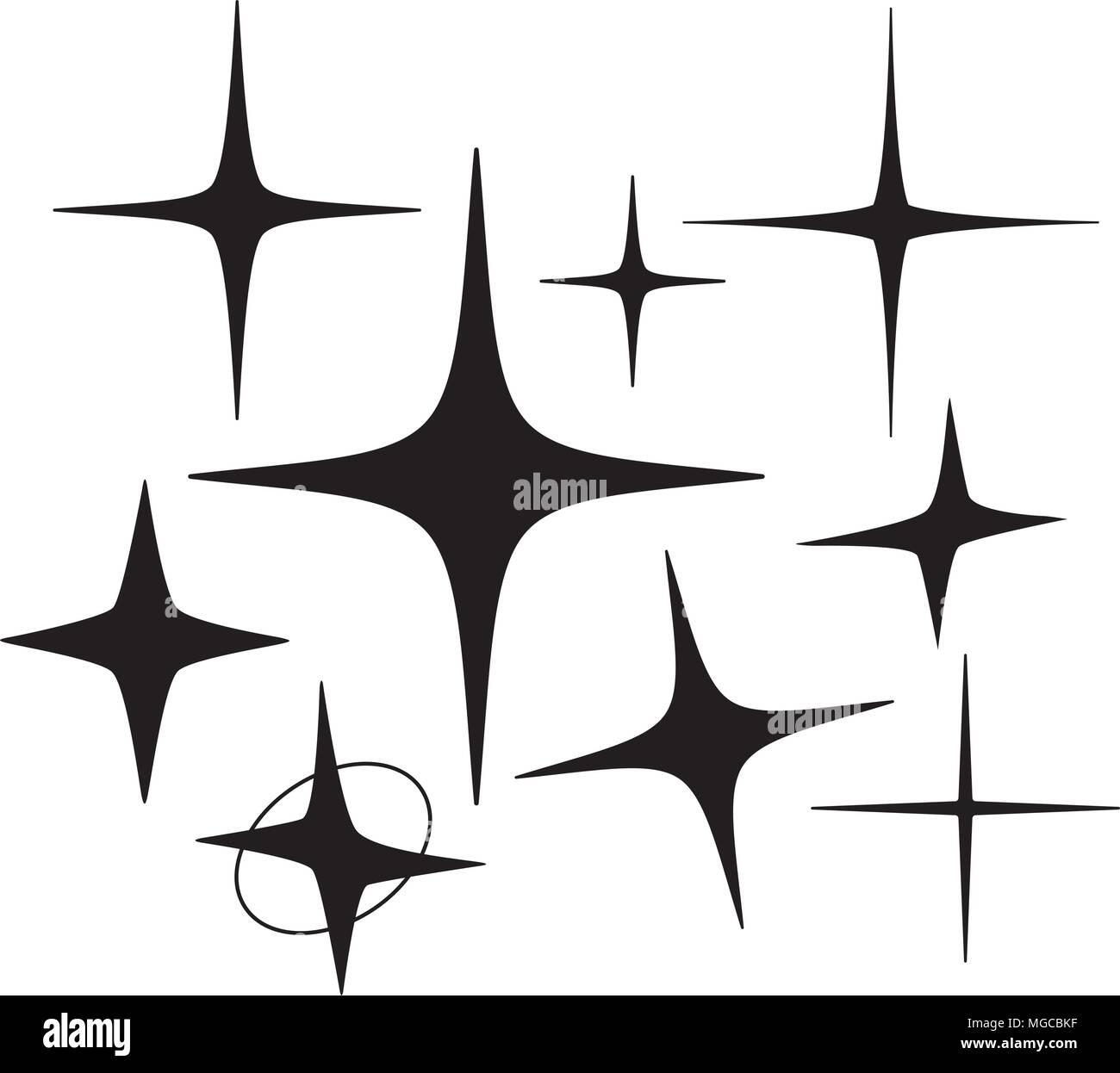 Retro Sterne 5 - Retro Clipart Illustration Vektor Abbildung - Bild ...