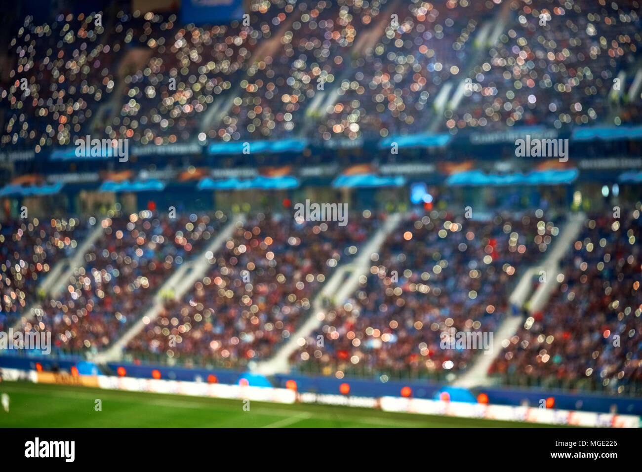Volle Fussball Fussball Stadion Tribunen Mit Beleuchtung Soft