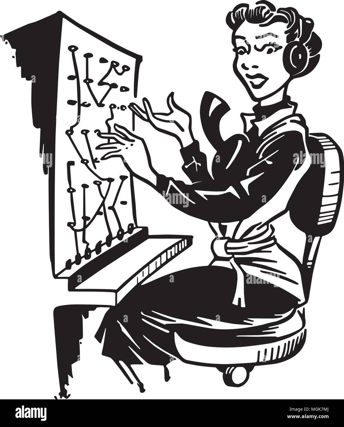 Telefonzentrale - Retro Clipart Illustration Vektor Abbildung - Bild ...