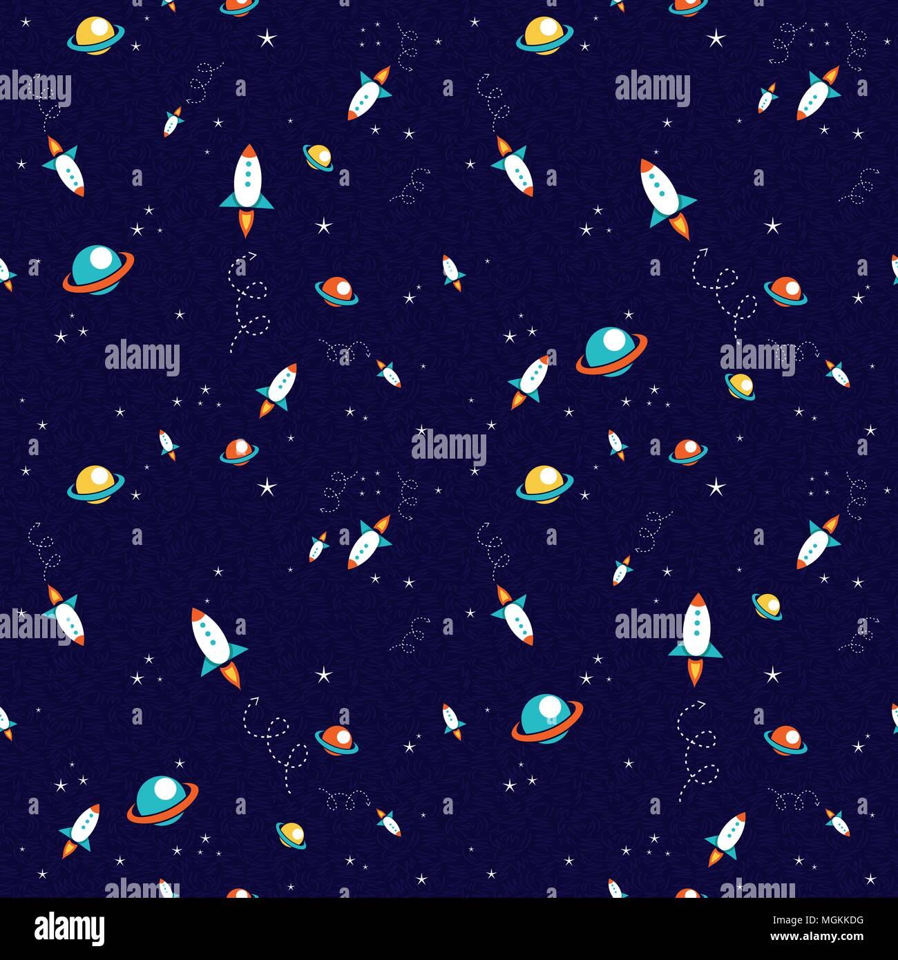kosmische nahtlose muster von hand gezeichneten planeten und rakete raumschiff weltraum galaxy hintergrund eps 10 vektor - Galaxy Muster