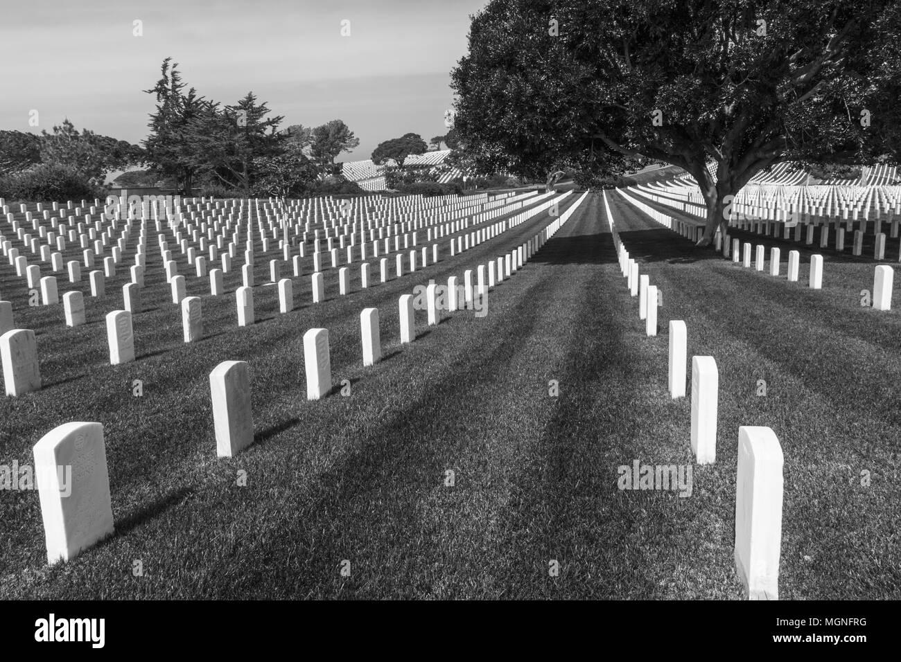 Fort Rosecrans National Cemetery auf der Halbinsel Point Loma in San Diego, Kalifornien. Stockbild
