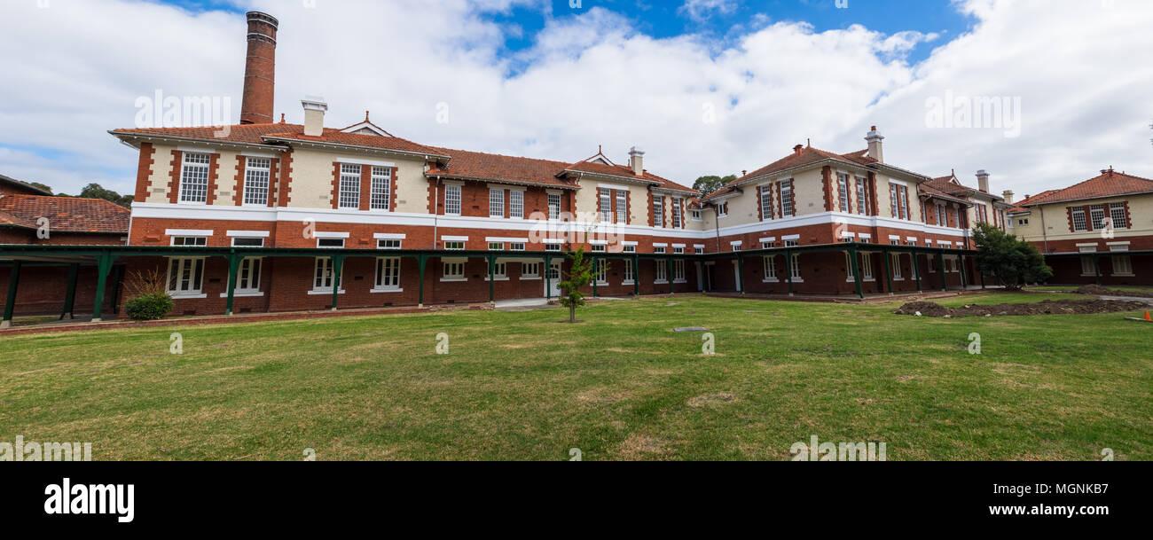 Die Terrassen, La Trobe University. Früher der Mont Park psychiatrischen Krankenhaus, erbaut im Jahre 1903, Bundoora, Victoria, Australien Stockbild