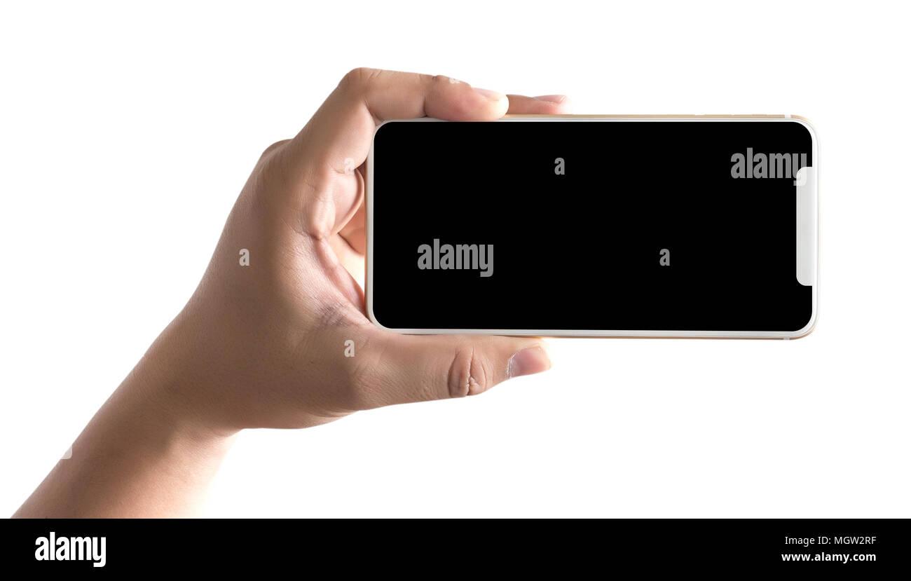 Neue phone Technology Smartphone mit leerer Bildschirm und moderner ...