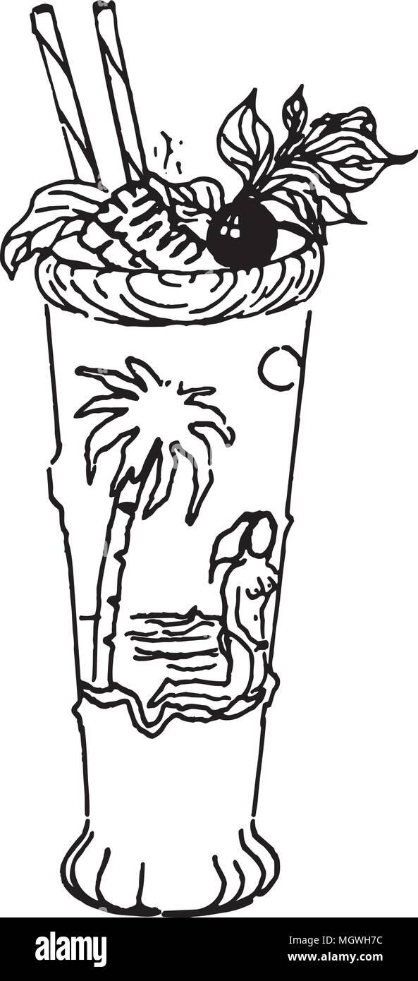 Tropisches Getränk - Retro Clipart Illustration Vektor Abbildung ...
