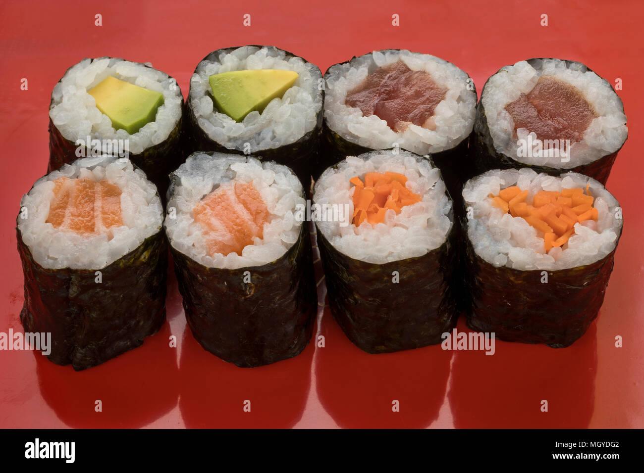 Traditionelle Vielzahl der japanischen Sushi Maki Stockbild