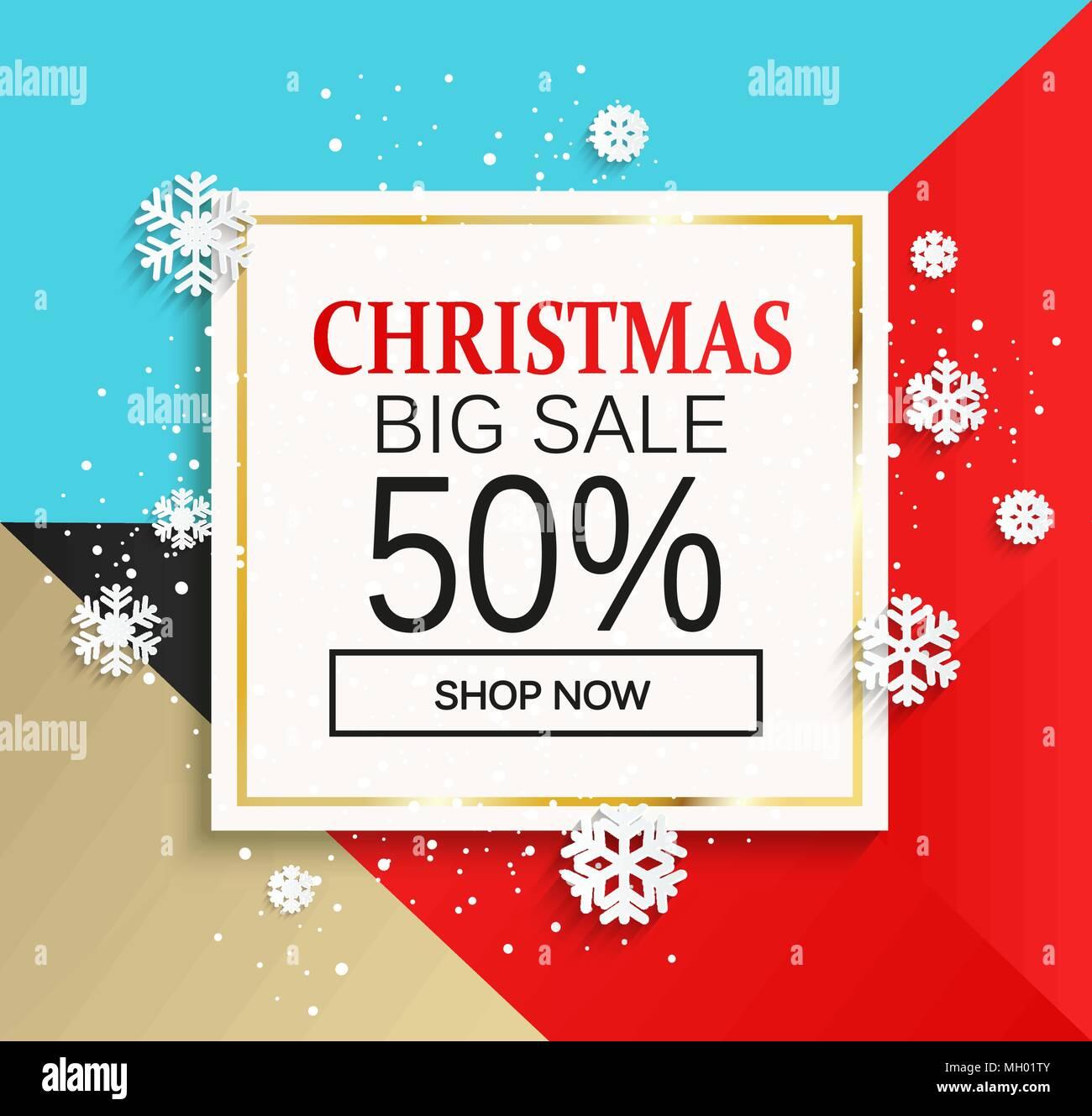 Weihnachten große Verkauf Banner. Karte für Shop Jetzt auf bunten ...