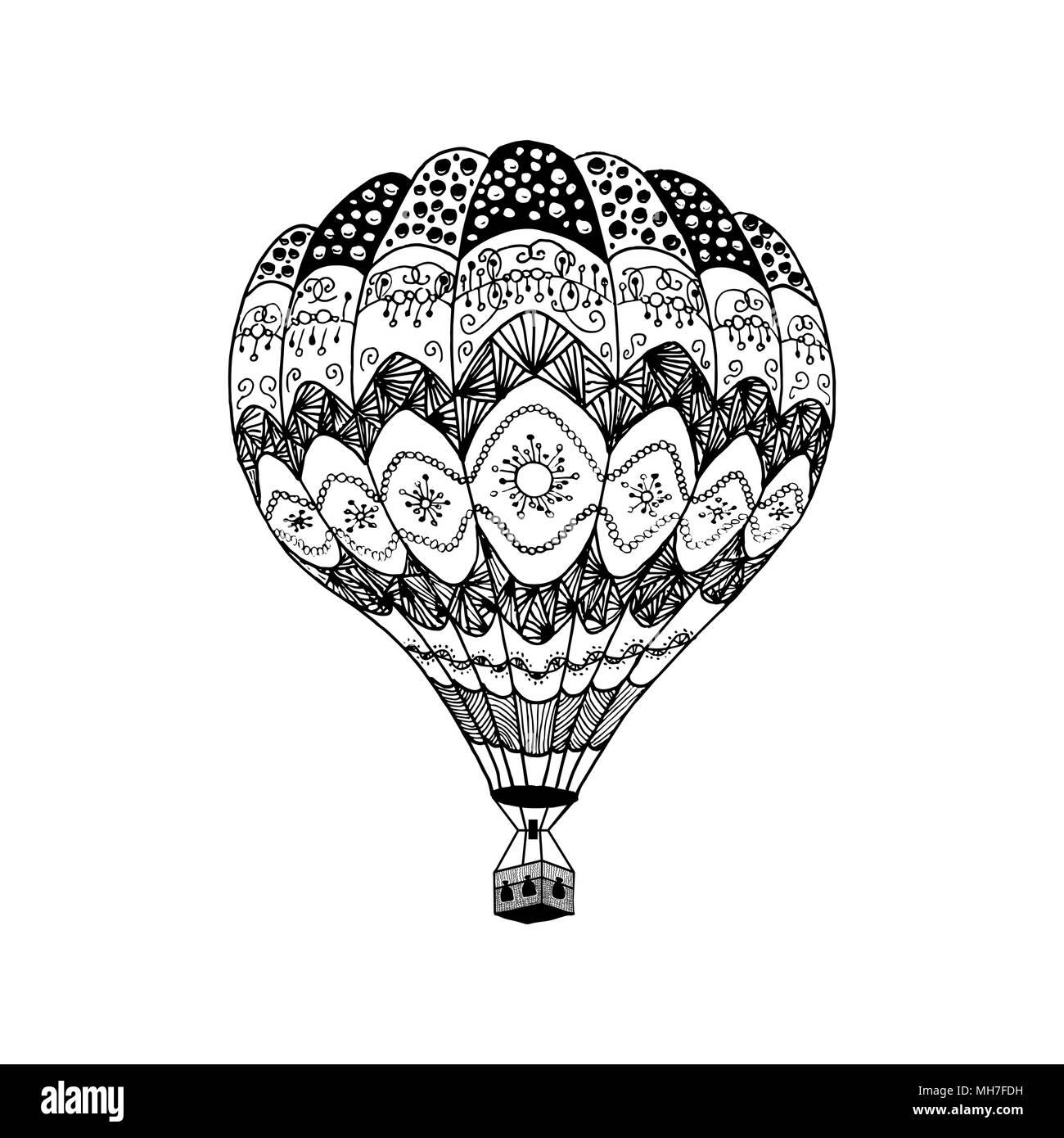 Vector Illustration von Hot Air Balloon in zentangle Stil. Färbung ...