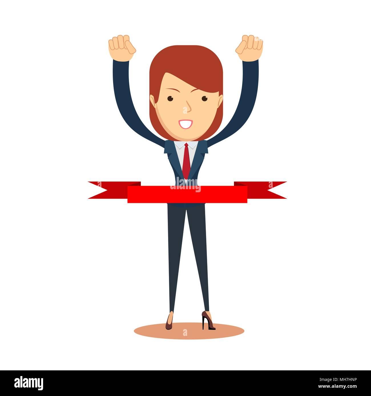 Konzept der erfolgreiche Geschäftsfrau in einer Ziellinie. Stock Vektor