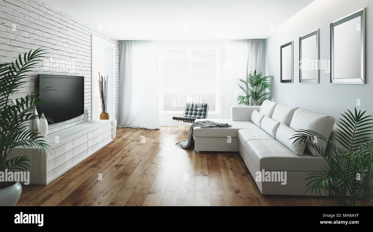 Wohnzimmer Mit Einem Sofa Und Einem Großen Fenster 3d Rendering
