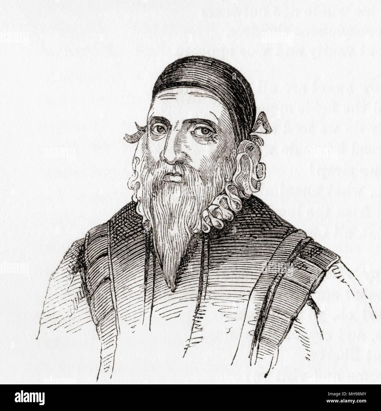 John Dee, 1527 - 1609. Englischer Mathematiker, Astronom, Astrologe, okkulte Philosoph und Berater für Königin Elizabeth I. von England: eine bildliche Museum, veröffentlicht 1847. Stockbild