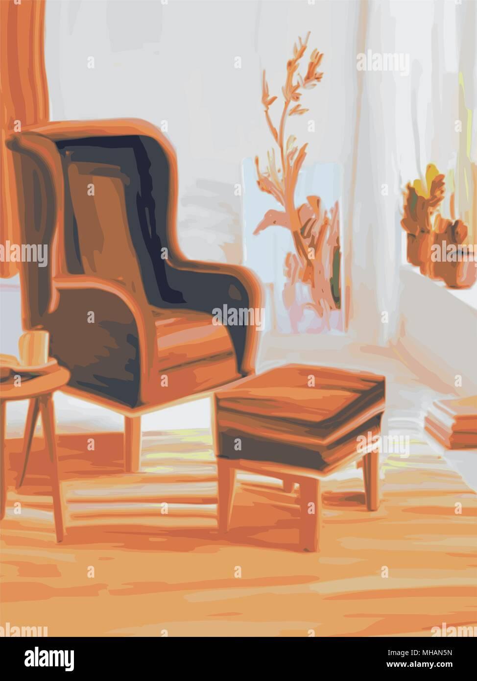 Wohnzimmer Einrichtung mit Sessel und Fußstütze, Aquarell Vector Illustration Stockbild