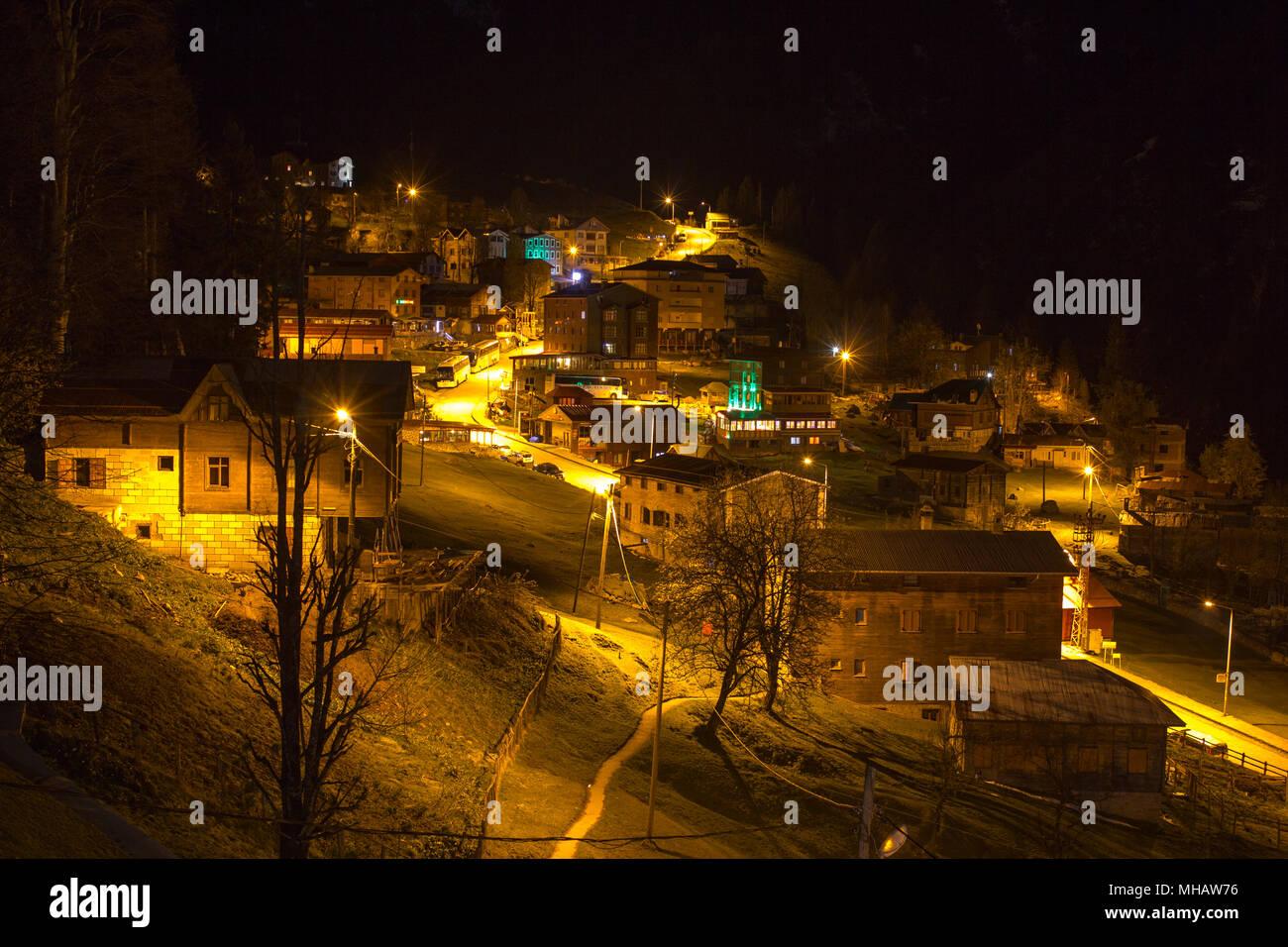 Long Shot von ayder Plateau um Mitternacht Stockbild