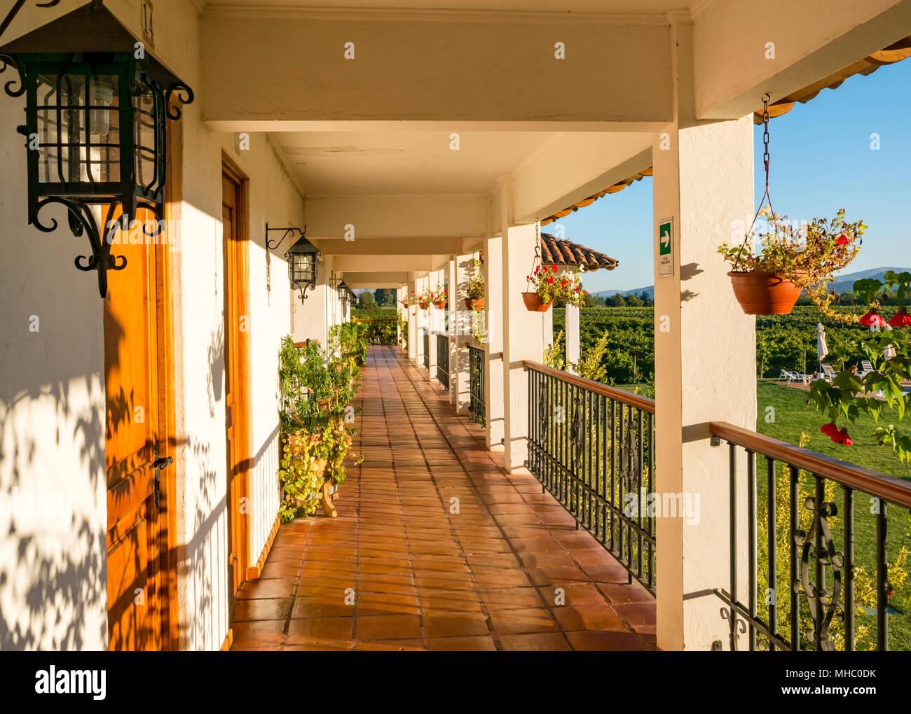 Balkon Terrasse Mit Sonnenbeschienenen Hangen Blumentopfe Hotel