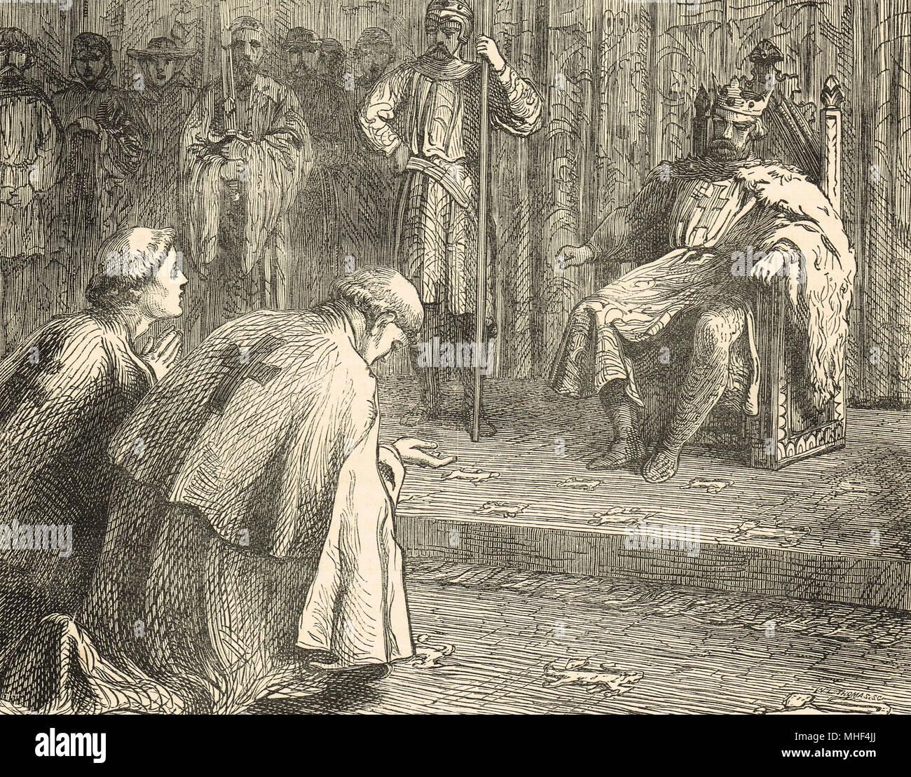 Priester bat König Richard I., in der Fürbitte für den Bischof von Beauvais, Philip von Dreux, von Anjou Streitkräften gefangen genommen. Rouen, Normandie, Frankreich, 1197 Stockbild