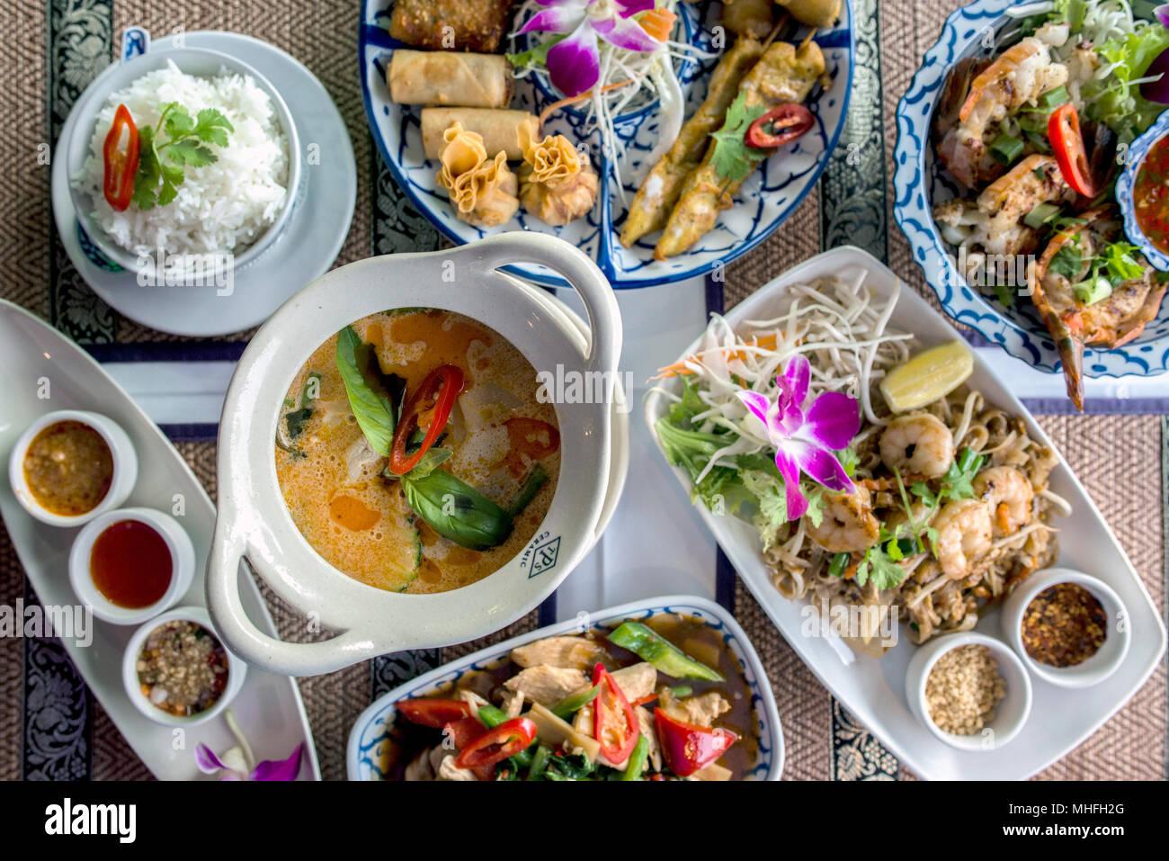 Thailändisches Essen in einem Restaurant Stockbild