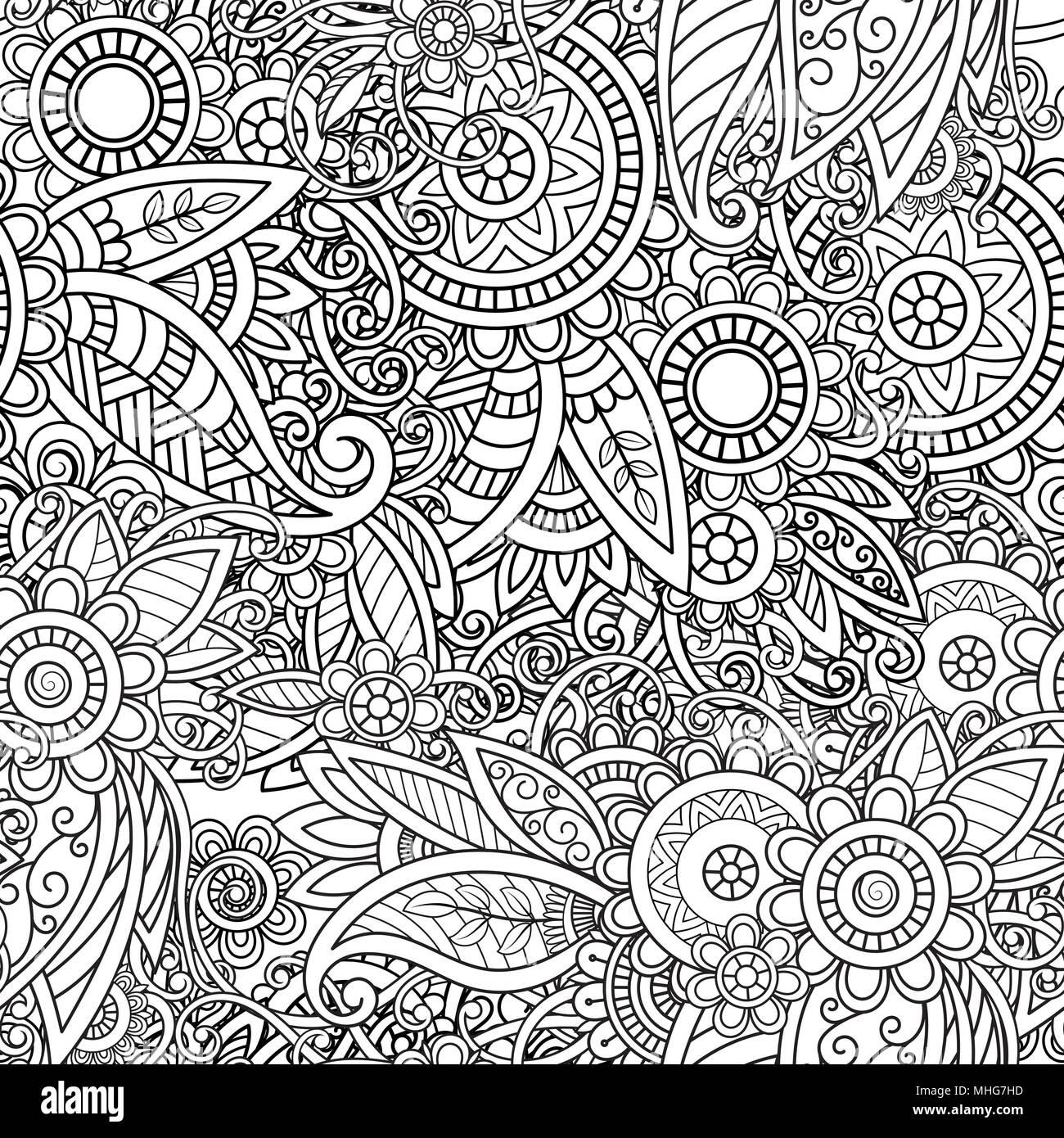 Hand Nahtlose Muster Abstrakt Ornament Gezeichnet Schwarz