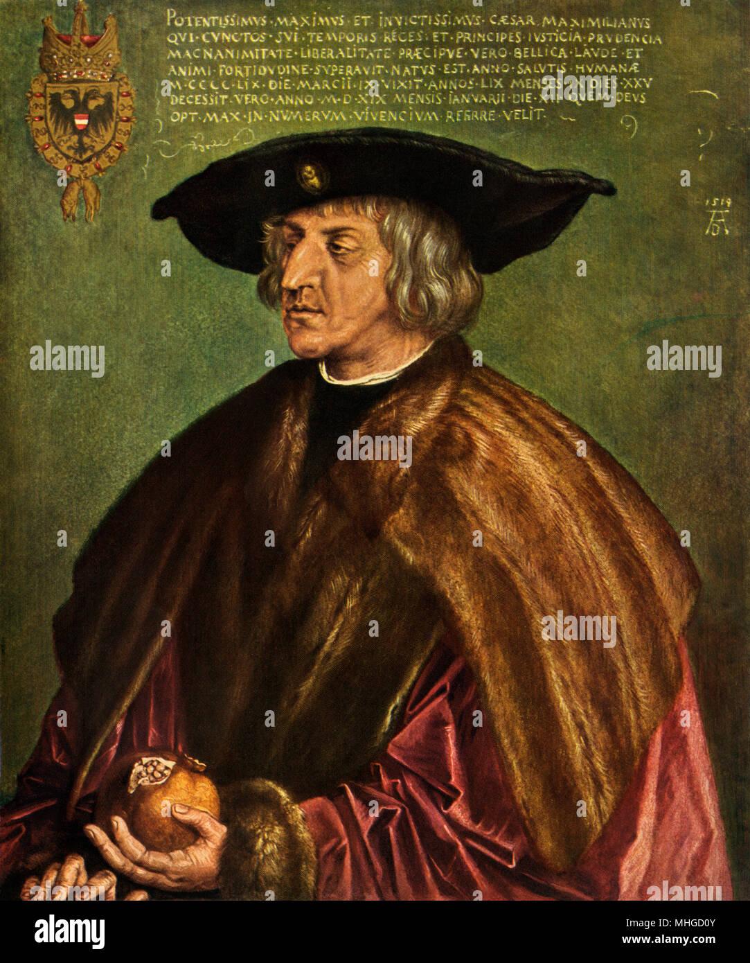 Kaiser des Heiligen Römischen Reiches Maximilian I. gedruckte Reproduktion eines Albrecht Dürer Gemälde Stockbild