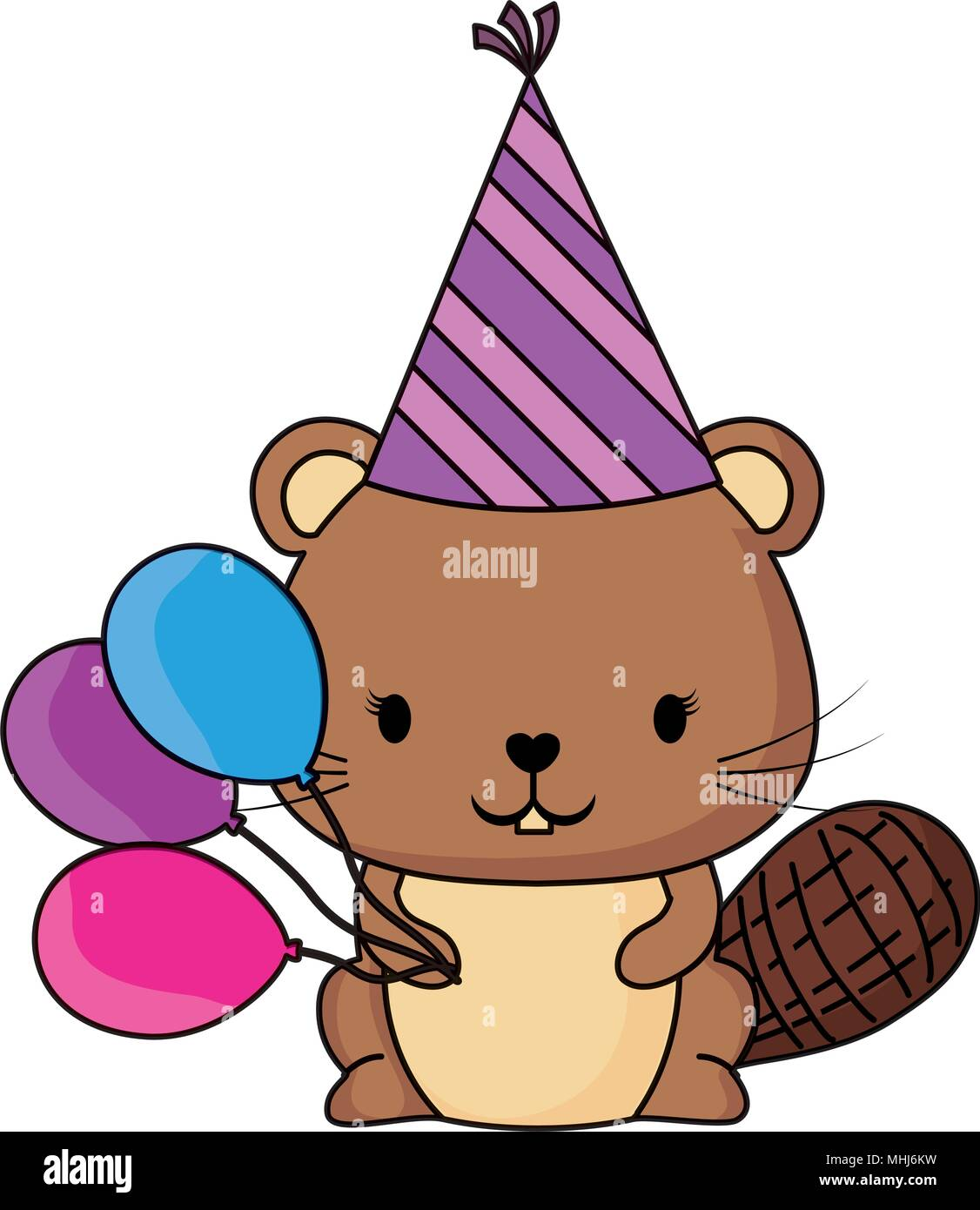 Happy Birthday Design Mit Niedlichen Biber Dem Geburtstag Hat Und Luftballons Weissem Hintergrund Farbenfrohen Vector Illustration