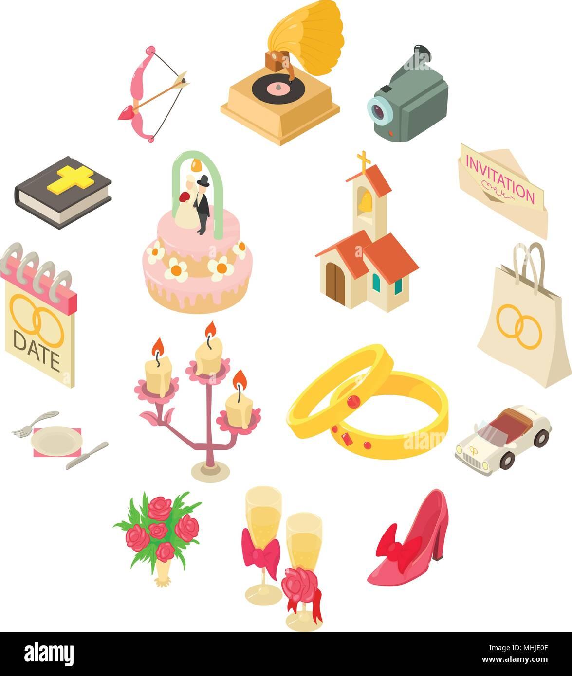 Hochzeit Symbole Gesetzt Isometrische Stil Vektor Abbildung Bild