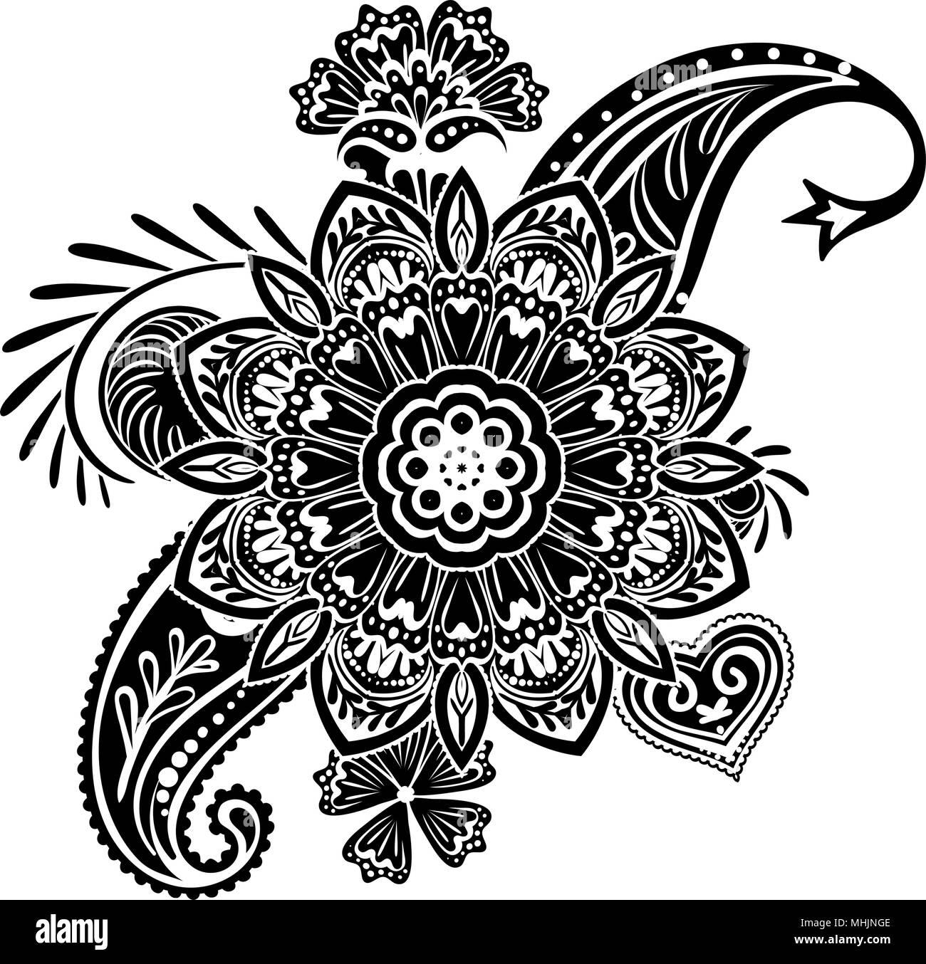 Henna Tattoo Blume Vorlage Mehndi Stil Satz Von Ornamentalen
