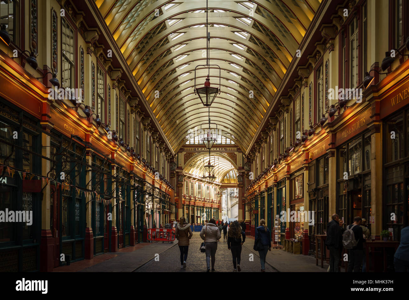 London (UK), September 2017. Leadenhall Market. Querformat. Stockbild