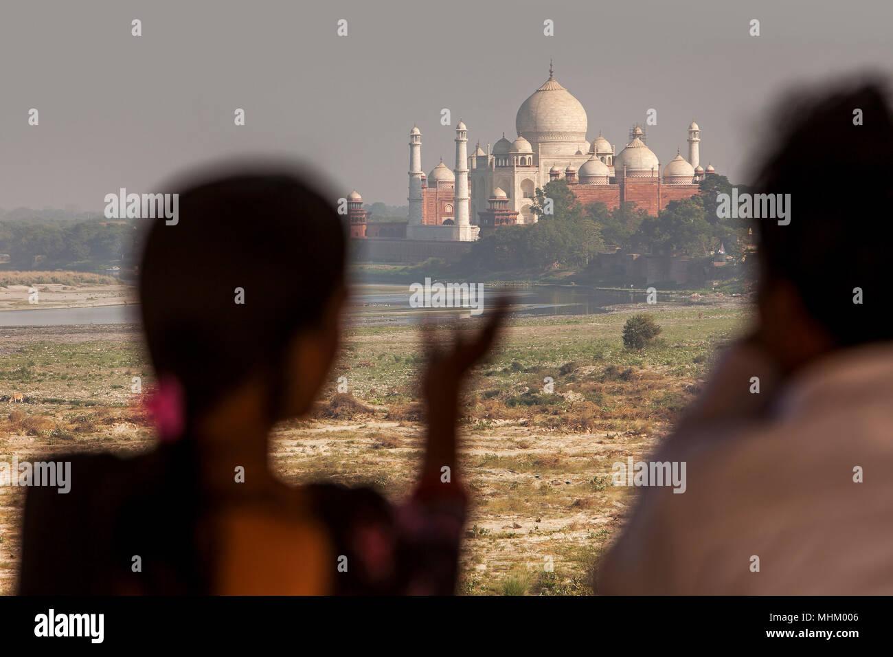 Taj Mahal, UNESCO-Weltkulturerbe, Agra, Uttar Pradesh, Indien Stockbild