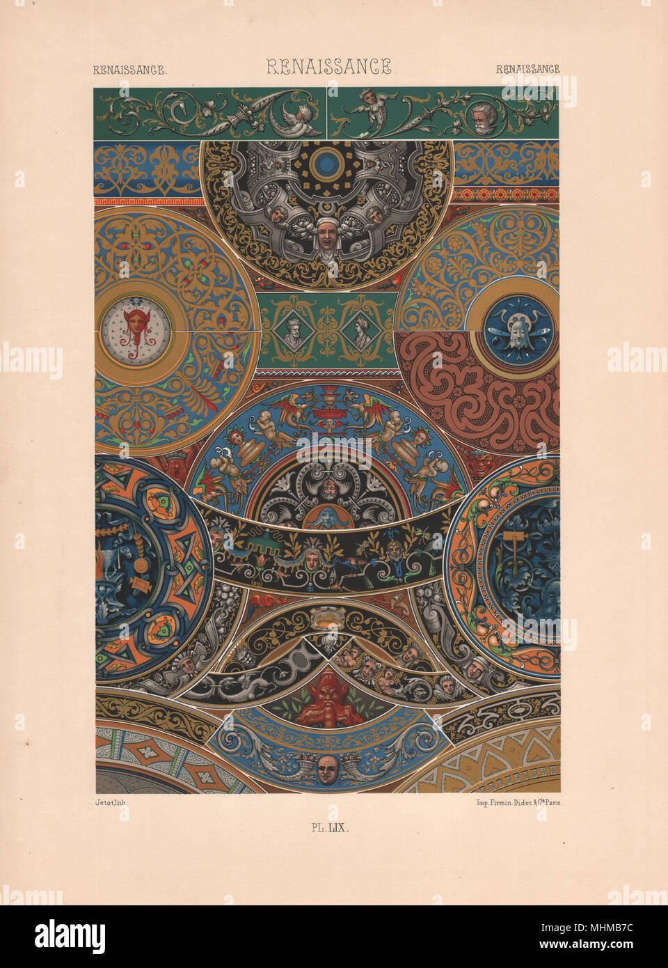 RACINET ORNEMENT POLYCHROME 59 Renaissance dekorative Kunst Muster Motive c 1885 Stockbild