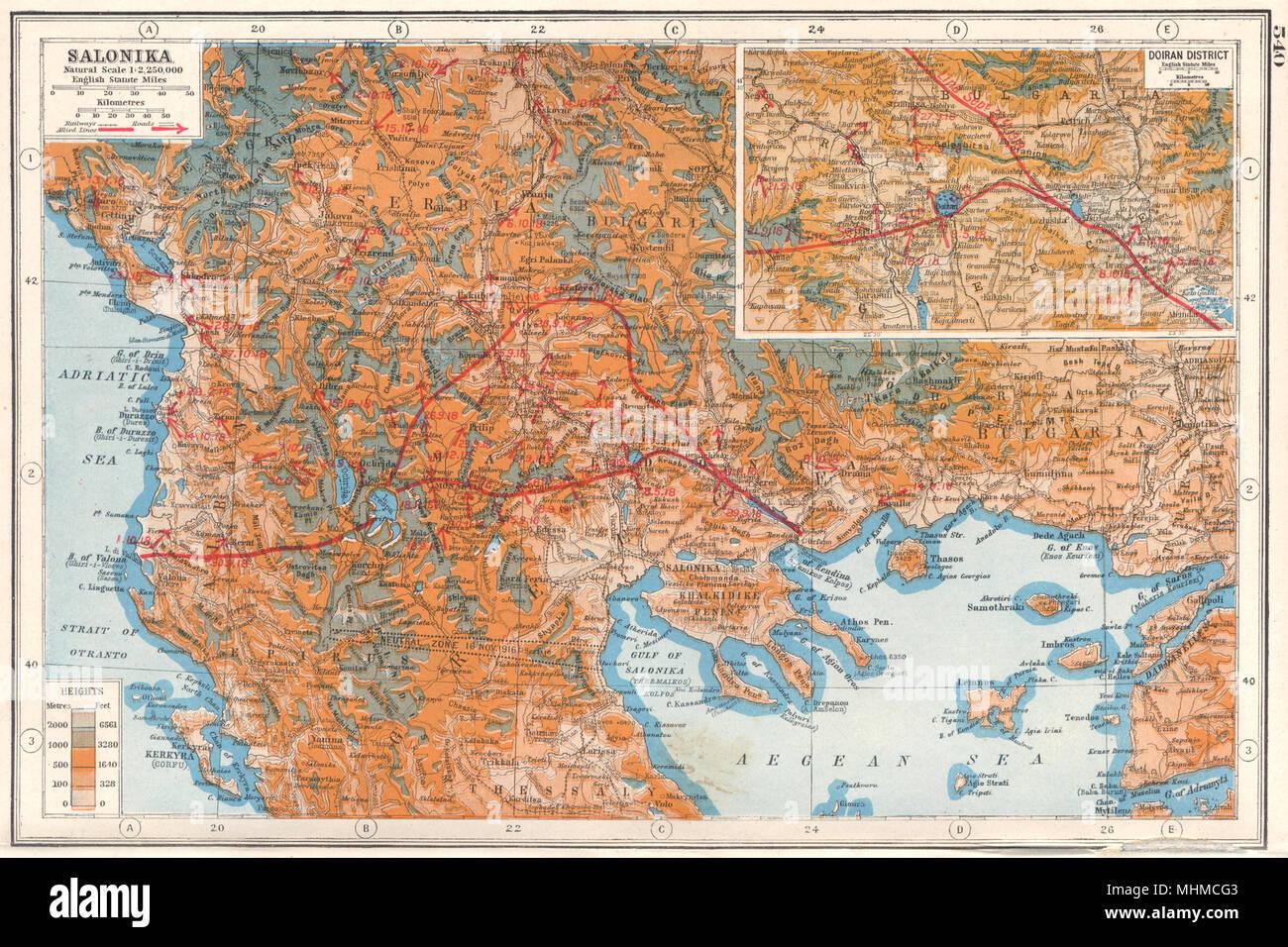 Thessaloniki Karte.Balkan Griechenland Thessaloniki Doiran Bezirk Weltkrieg 1